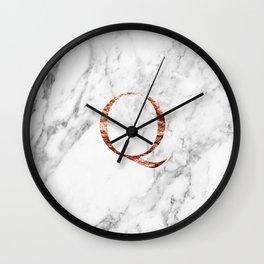 Monogram rose gold marble Q Wall Clock