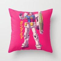 gundam Throw Pillows featuring Gundaruma by Mike Wrobel