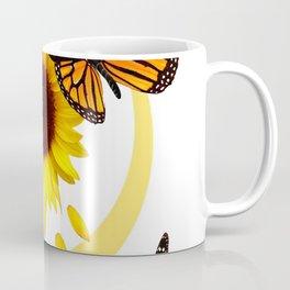 ORANGE MONARCH BUTTERFLIES & SUNFLOWER  PATTERN Coffee Mug