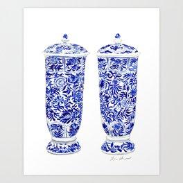 Blue and White China Ginger Jar Vases Pair Chinoiserie Chinese Asian Art Print