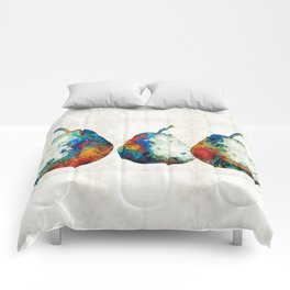 Colorful Pear Art - Three Pears - By Sharon Cummings Comforters