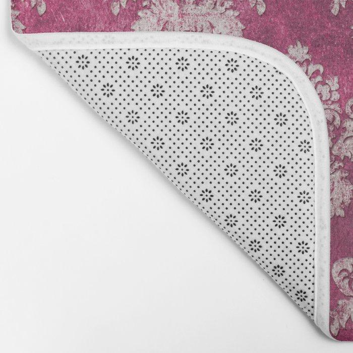 Old shabby vintage damask pink purple pattern Bath Mat