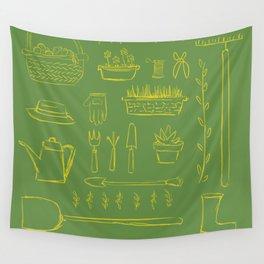Gardening and Farming! - illustration pattern Wall Tapestry