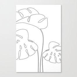 Monstera plant leafs line art Art black and white Canvas Print