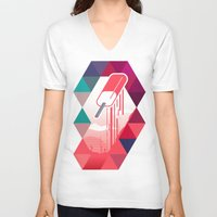 popsicle V-neck T-shirts featuring Watermelon Popsicle by Spires