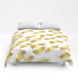 Abstract white faux gold artistic paint brushstrokes pattern Comforters