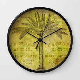 Vintage Journey palmtree typography travel collage Wall Clock