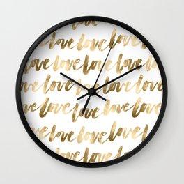 Gold Love Script Wall Clock