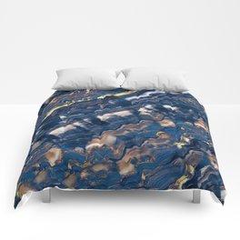 Blue marble with Golden streaks Comforters