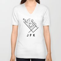 jfk V-neck T-shirts featuring JFK Airport Diagram by vidaloft