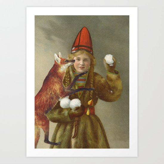 Red fox return Art Print