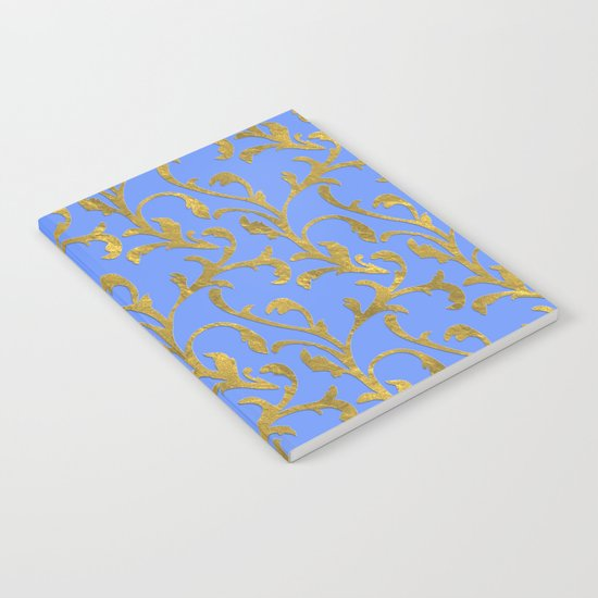 Queenlike on blue  I- gold ornament on blue backround- elegant pattern Notebook