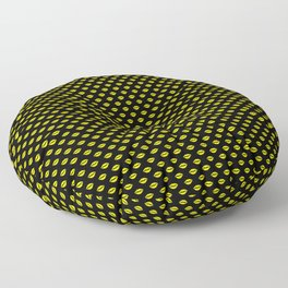 Bright Neon Yellow Lips On Black Floor Pillow