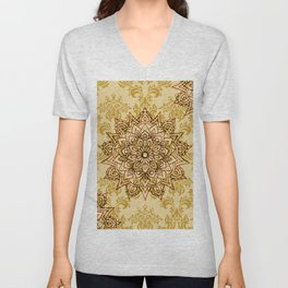 Stylish Gold Mandala Unisex V-Neck