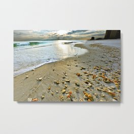 beach shells sunset landscape art print Metal Print