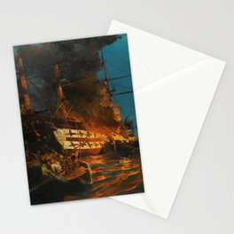 The Burning of a Turkish Frigate Stationery Cards