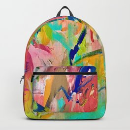 Wild Child: a colorful, vibrant abstract piece in neon and bold colors Backpack