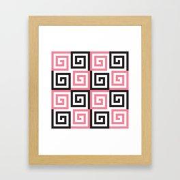 Geometric Pattern #124 (pink Greek spiral) Framed Art Print