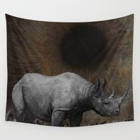 rhino Wall Tapestries featuring RHINO by zinakorotkova