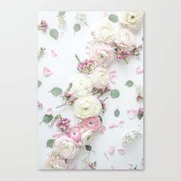 SPRING FLOWERS WHITE & PINK Canvas Print