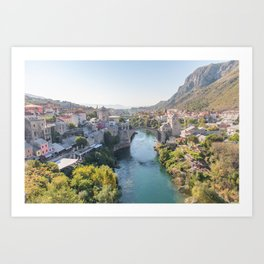 Old Town and Bridge in Mostar, Bosnia and Herzegovina Art Print