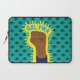 Girl Power Fist on Eye Pattern Background Laptop Sleeve
