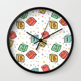 Children toys in cartoon style. Hand drawn baby cubes. Wall Clock