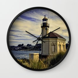 Oregon Coquille River Lighthouse - Watching The River Wall Clock