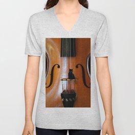 Black Cat And Violin #decor #society6 #buyart Unisex V-Neck