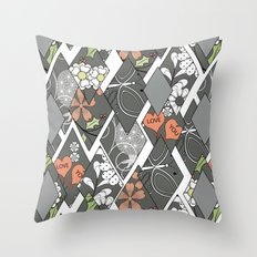 Patchwork,abstract floral,pattern. Throw Pillow