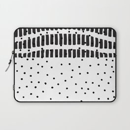 Modern black white  watercolor brushstrokes polka dots Laptop Sleeve