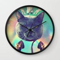 saga Wall Clocks featuring galactic Cats Saga 3 by Carolina Nino