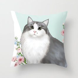 Cat Selly Throw Pillow