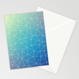 Abstract Blue Geometric Triangulated Design Stationery Cards