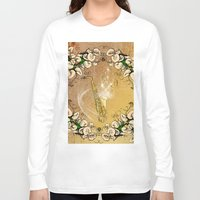 saxophone Long Sleeve T-shirts featuring Saxophone with flowers by nicky2342
