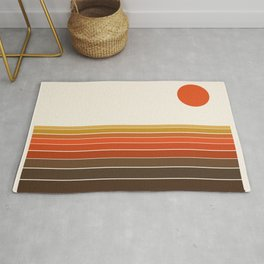 Peace Out - sunset ocean surfing beach life 70s style retro 1970s design Rug