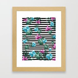Tropical Florals & Foliage on Stripes #2 #decor #art #society6 Framed Art Print