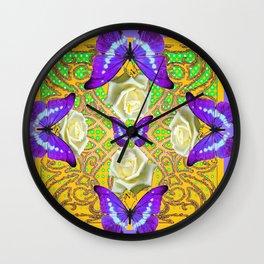 LILAC PURPLE BUTTERFLIES ABSTRACT GARDEN Wall Clock