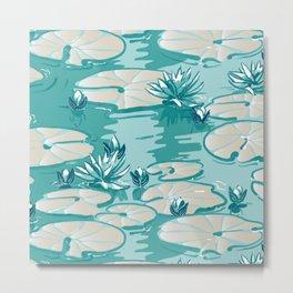 Monets Waterlilies Pattern — Mint Green Metal Print