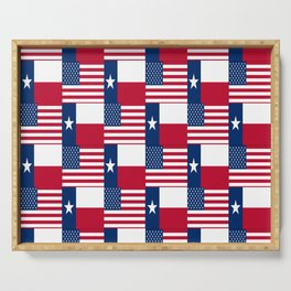 Mix of flag: Usa and Texas Serving Tray