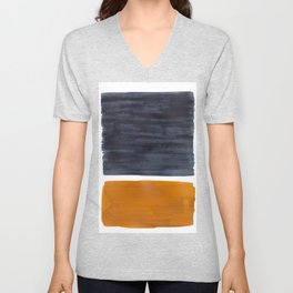 Minimalist Mid Century Modern Colorful Color Field Rothko Navy Blue Yellow Ochre Unisex V-Neck