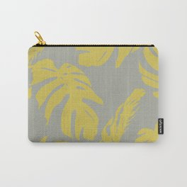 Simply Mod Yellow Palm Leaves on Retro Gray Carry-All Pouch