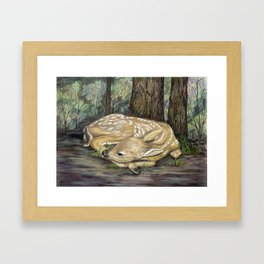 fawn in the woods karla hall Framed Art Print