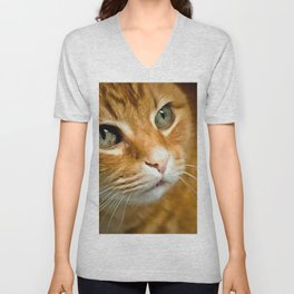 Adorable Ginger Tabby Cat Posing Unisex V-Neck