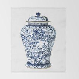 Blue & White Chinoiserie Cranes Porcelain Ginger Jar Throw Blanket