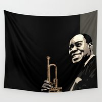 louis Wall Tapestries featuring Louis Armstrong by f_e_l_i_x_x