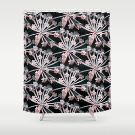 Frost Flower Abstract In Pink And Black Shower Curtain