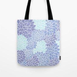 Ice Blue Dahlias Tote Bag