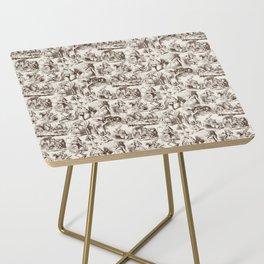 Alice in Wonderland | Toile de Jouy | Brown and Beige Side Table