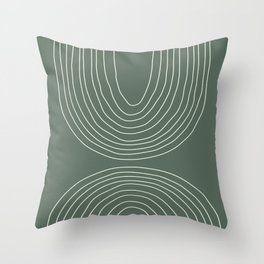 Hand drawn Geometric Lines in Forest Green 4 Throw Pillow